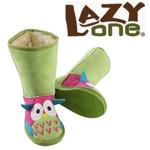 Lazy One Girls Green Owl Toasty Toes Boots